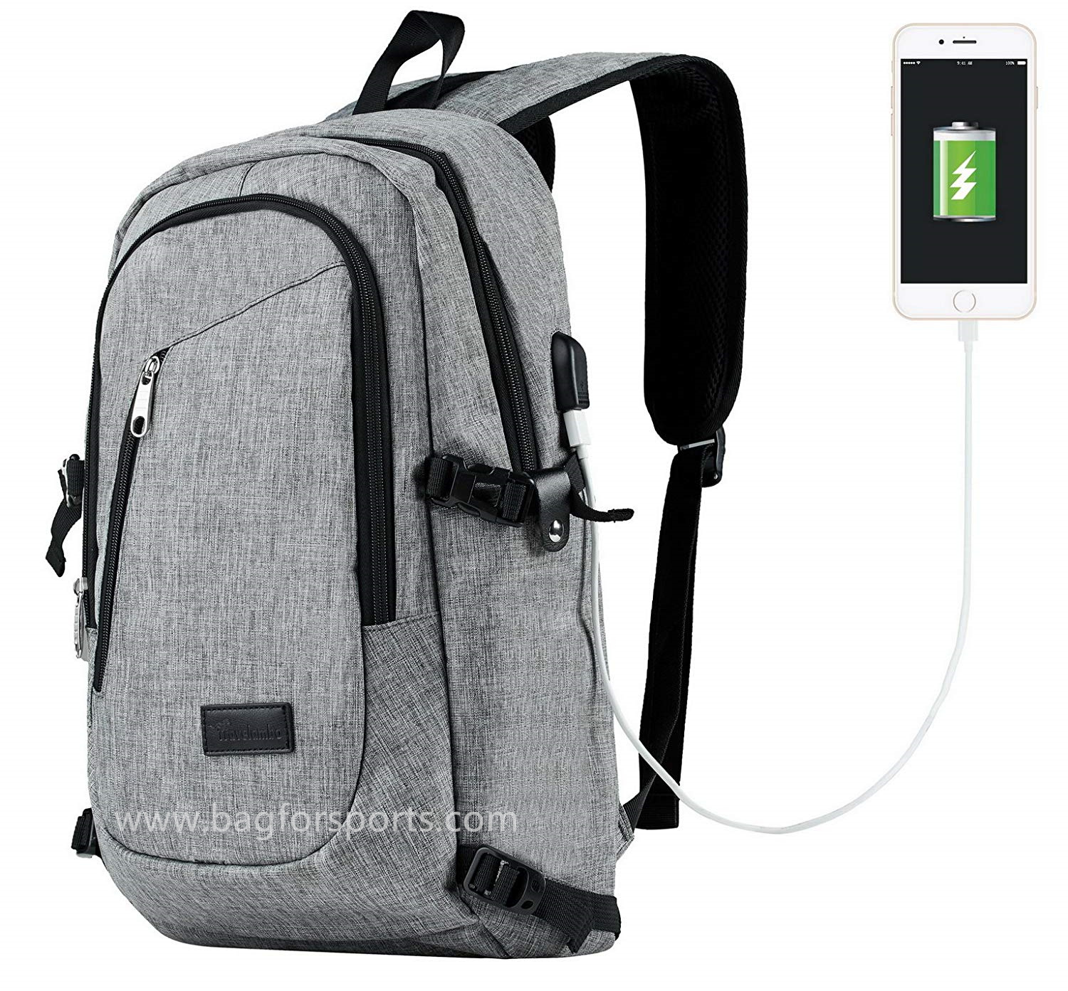 Travelambo Business Water Resistant Polyester Laptop Backpack Travel Bag with USB Charging Port and