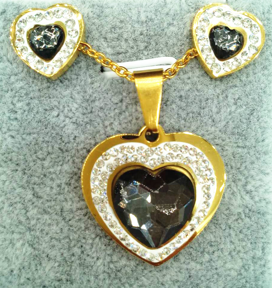 Wholesale Jewelry 'have mutual affinity'Party Wedding Rhinestone 18k Gold plated heart necklace Set