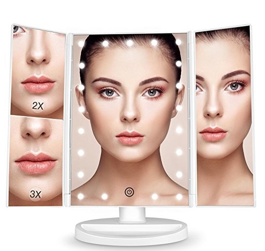1X 2X 3X Magnifying Makeup Mirrors 36 LED Battery and USB Two Powered Mode Plastic Framed Mirrors
