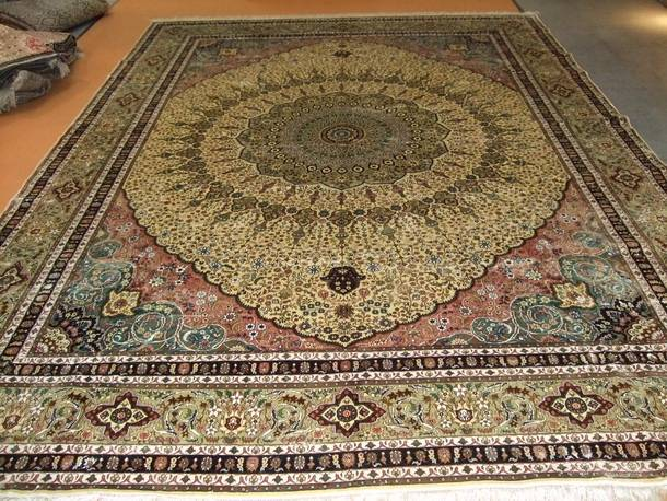 Eemerald Color Pure Hand Made Persian Rugs Iranian Silk Carpet