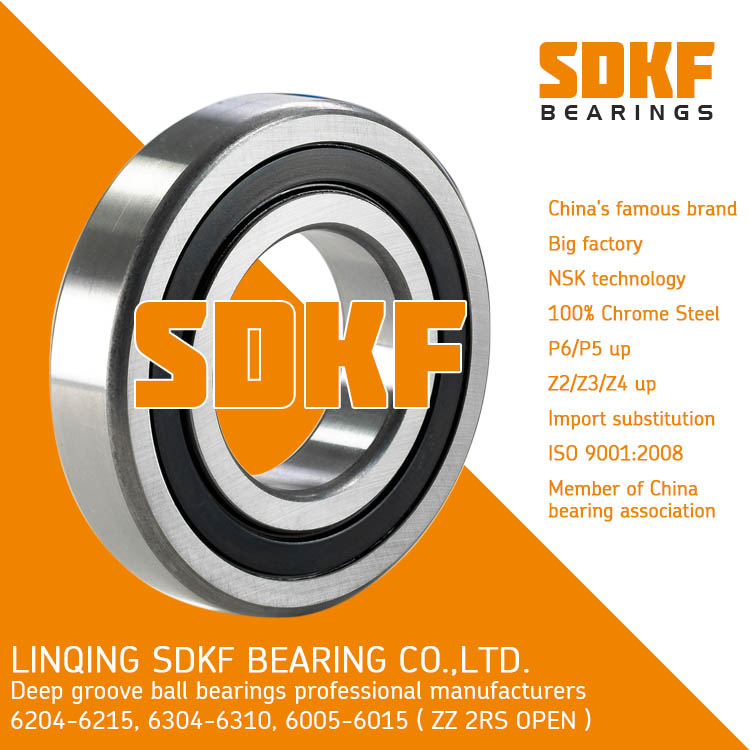 6204 2RS Ball Bearing Dual Sided Rubber Sealed Deep Groove Bearing SDKF Brand