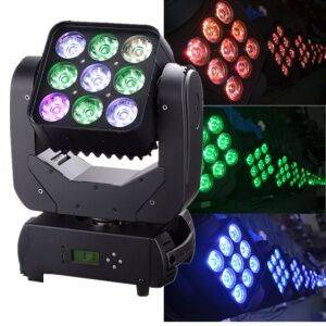 9PCS 10W Matrix and Wash LED Moving Head Lights