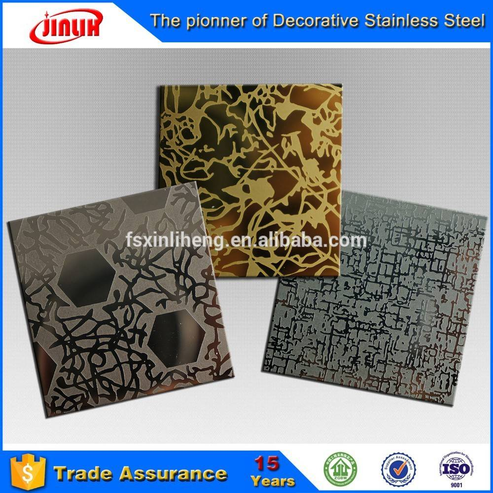 Etching embossing Ti-Bronze Finish Stainless Steel Decorative Lamina Plate