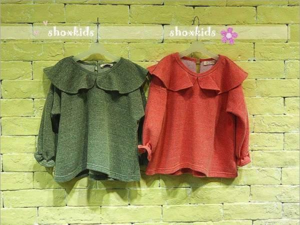 Comfort  falbala collar/cuff long girl's T-shirt
