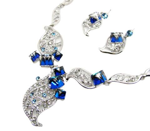 Luxury leaf shape jewelry sets six side blue color stones with bright reflection special design for