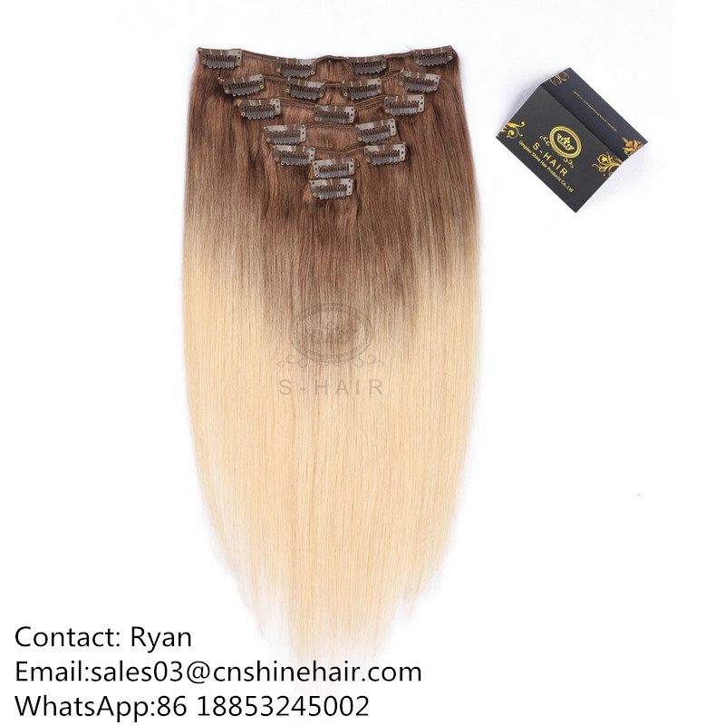 Good quality Clip In Hair Extension Ombre #8/613