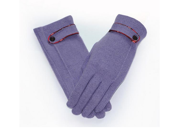 Autumn and winter women 's cashmere gloves touch - button finger