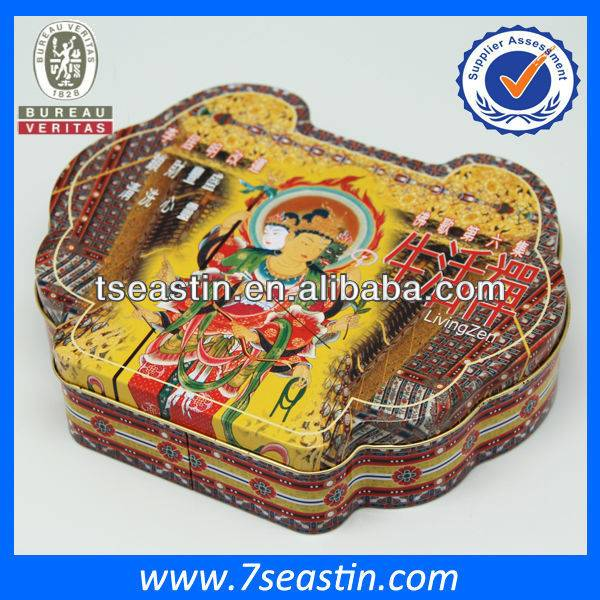 Metal tin box manufacturer irregular shaped buddha tin gift boxes