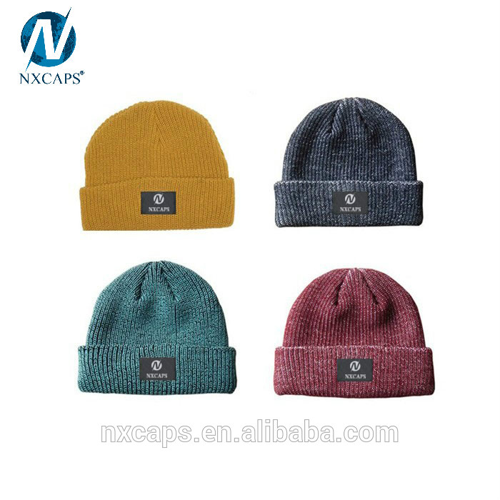 Colorful Hip Hop Beanies Knitted Beanie Woven label winter Knitted Hat