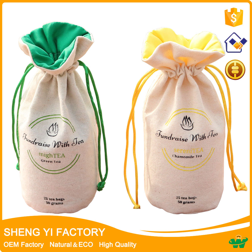 Round bottom cotton canvas drawstring candy Tea bag wholesale