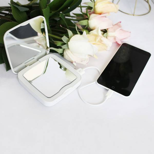 Rechargeable power bank cosmetic mirror with 5x magnifying