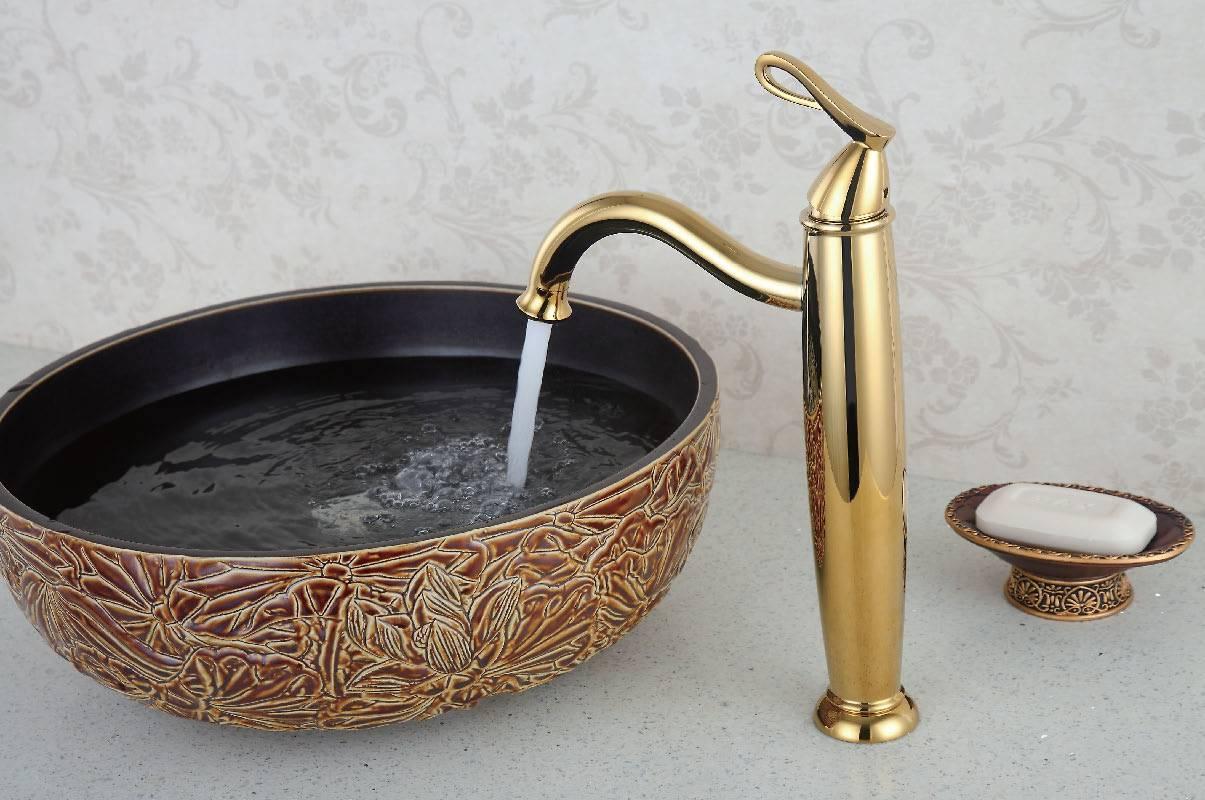 Min top quality antique gold basin faucet
