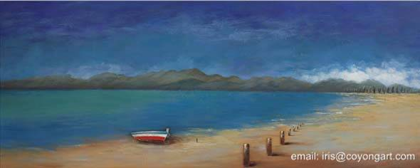Hand painted beach oil painting, seascape oil painting on canvas