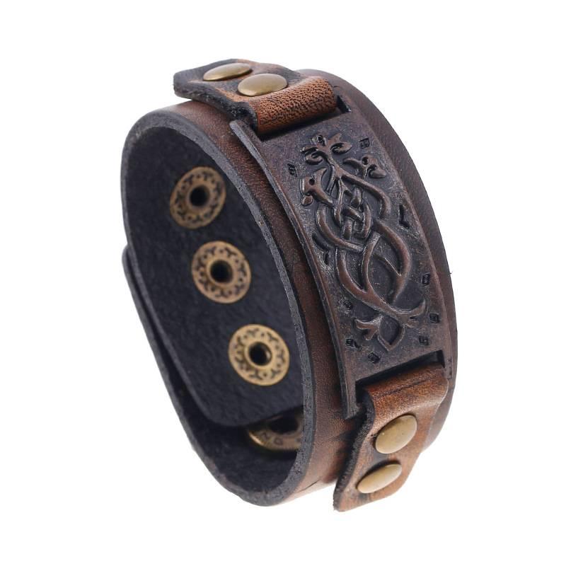 Vintage Decorative design metal Leather bracelet SJ-B020