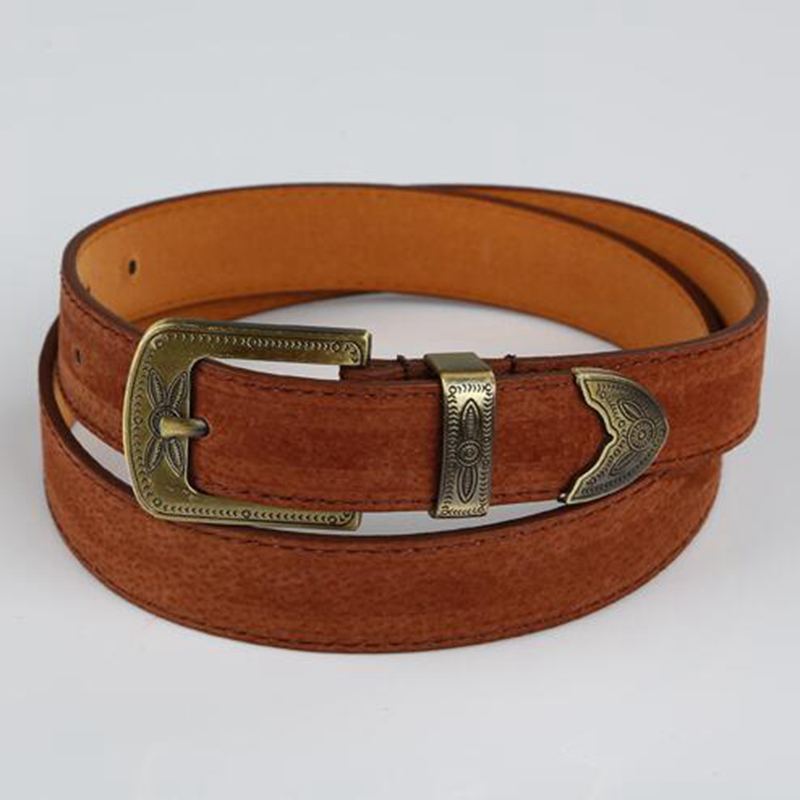 Vintage Style Fashion Women Solid Color PU Belt