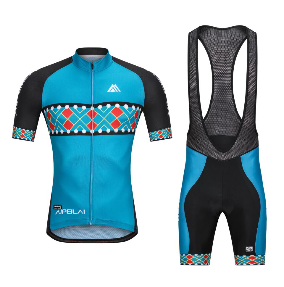 Custom Men Bicycle Cycling Jersey and Bib Shorts with 3D Pad