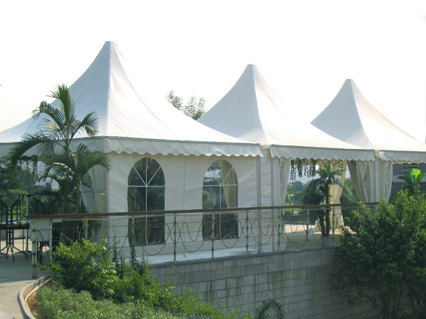 white color waterproof and fire resistant pagoda tent