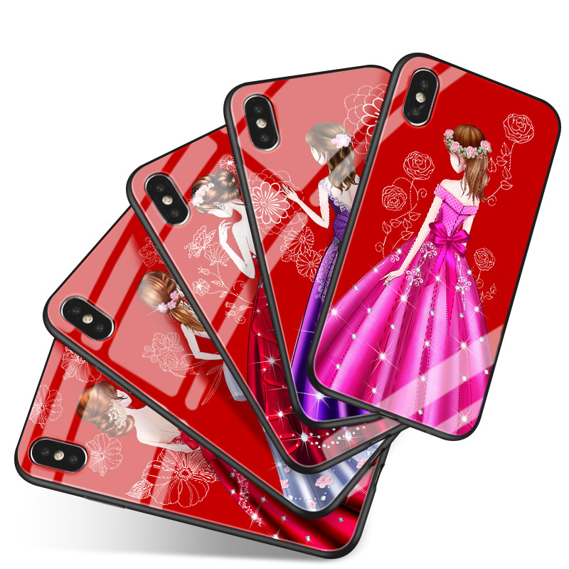 2017 New Girls Glass Cell Phone Cover for iPhone X/6s/7/8 Plus Back CaseFull Protection
