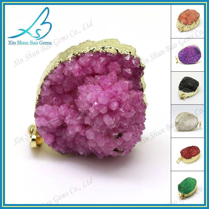 Hand made free form pink plated natural druzy stone pendant