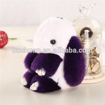 New color rabbit fur keychain