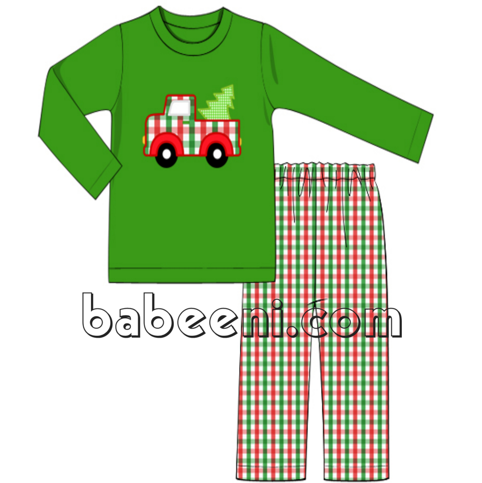 Christmas tree car applique boy outfit