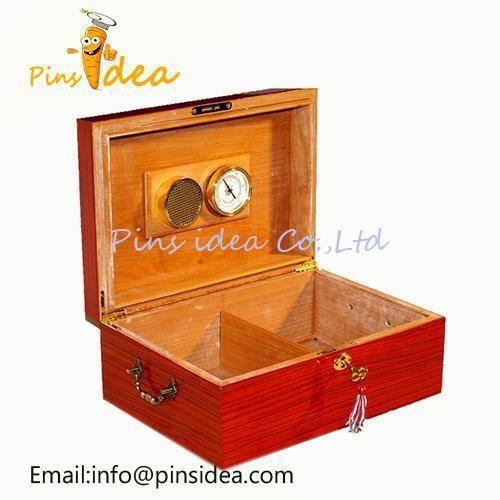 Mahogany Cigar Humidor Case Front Mounted Humidifer Spanish Cedar Lined Interior Men's Gift