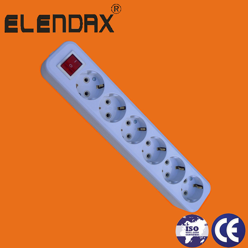 Elendax German Type Six Way Extension Socket with Earth and Switch with Cbale(E8006ES)