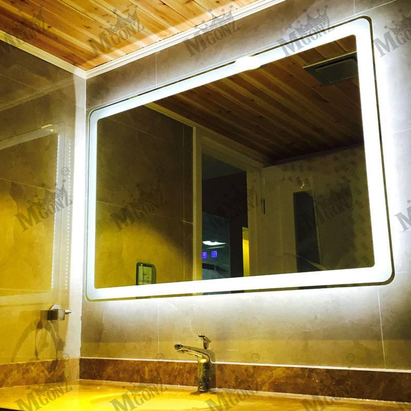 Mgonz with touch switch led anti-fog bathroom mirror wall mirror