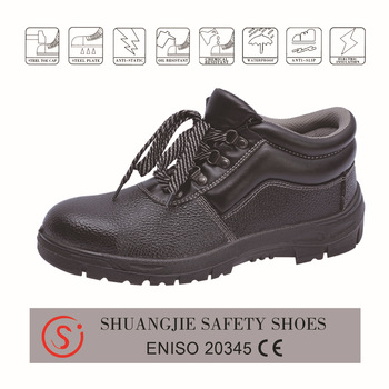 safety work shoes 9010-2 embossed leather pu outsole