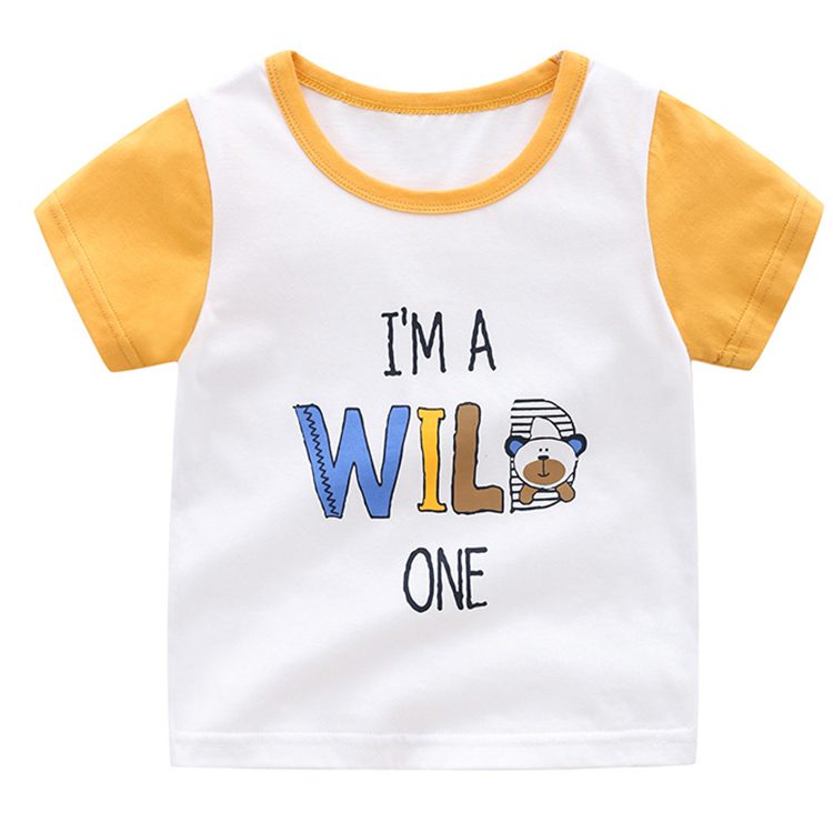 Fashion printed 100% cotton kids clothes short sleeve boys t-shirt