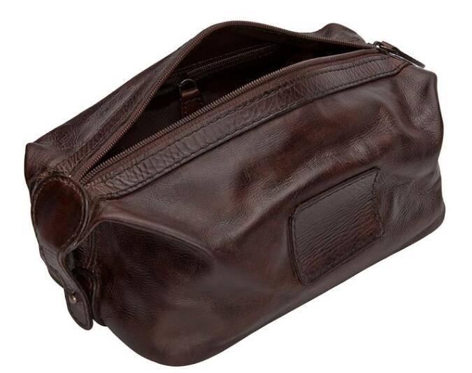 Vintage Men smooth rich leather travel cosmetic bag Shaving kit Bag/men toiletry bag/travel case/men