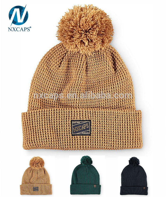 Gold Cable Adults Babies Fur Pom Pom Winter Beanie Hat