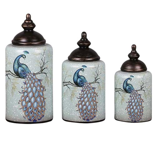 American Style Temple Jar With Peacock Motif Porcelain Decorative Storage