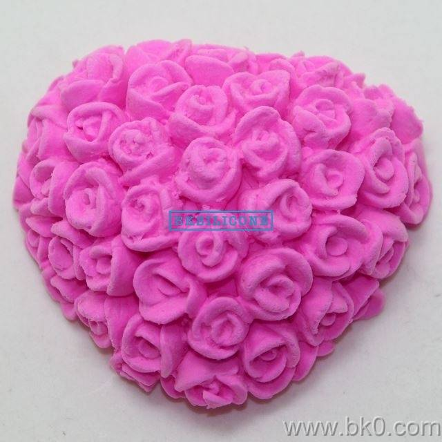 High Quality Rose Heart Shaped Cake Decorating Tools Silicone Soap Mold Silicone Fondant Cake Mold