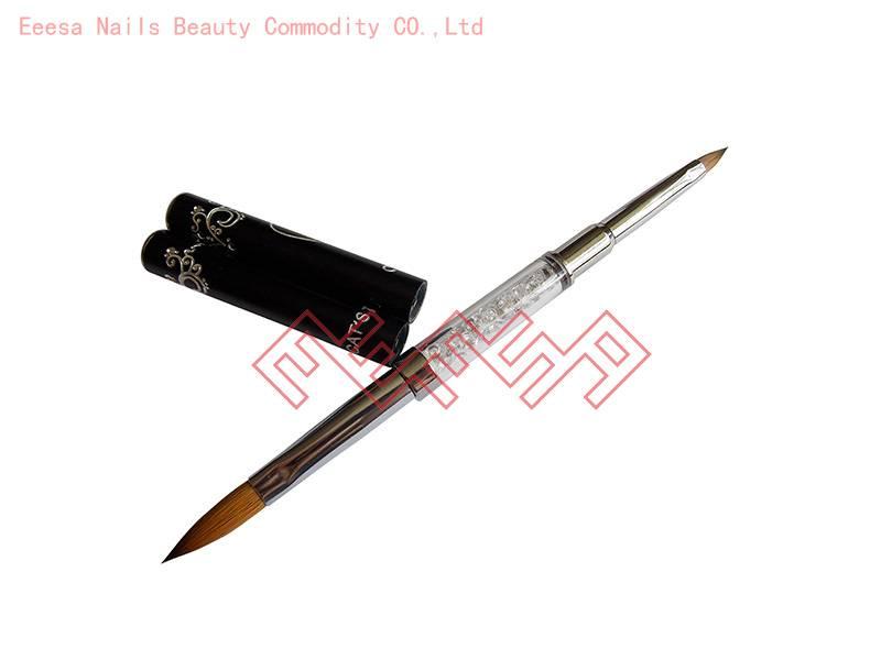 Eeesa Metal Handle Beauty Art Kolinsky Hair Diamond Like Nail Brush Acrylic Crystal Nail Brush