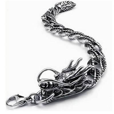 Wholesale RETRO VINTAGE stainless steel dragon style Bracelet for men
