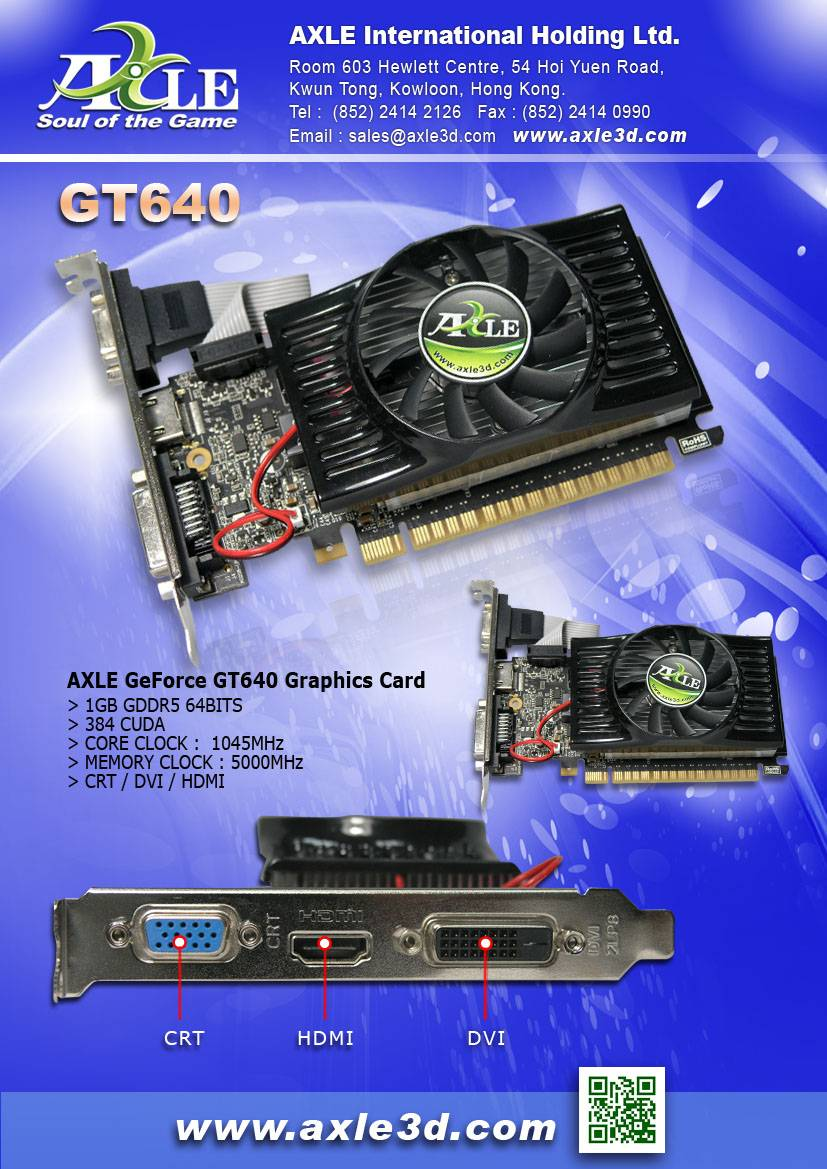 AX-GT640/1GD5P4CDIL Graphics card/