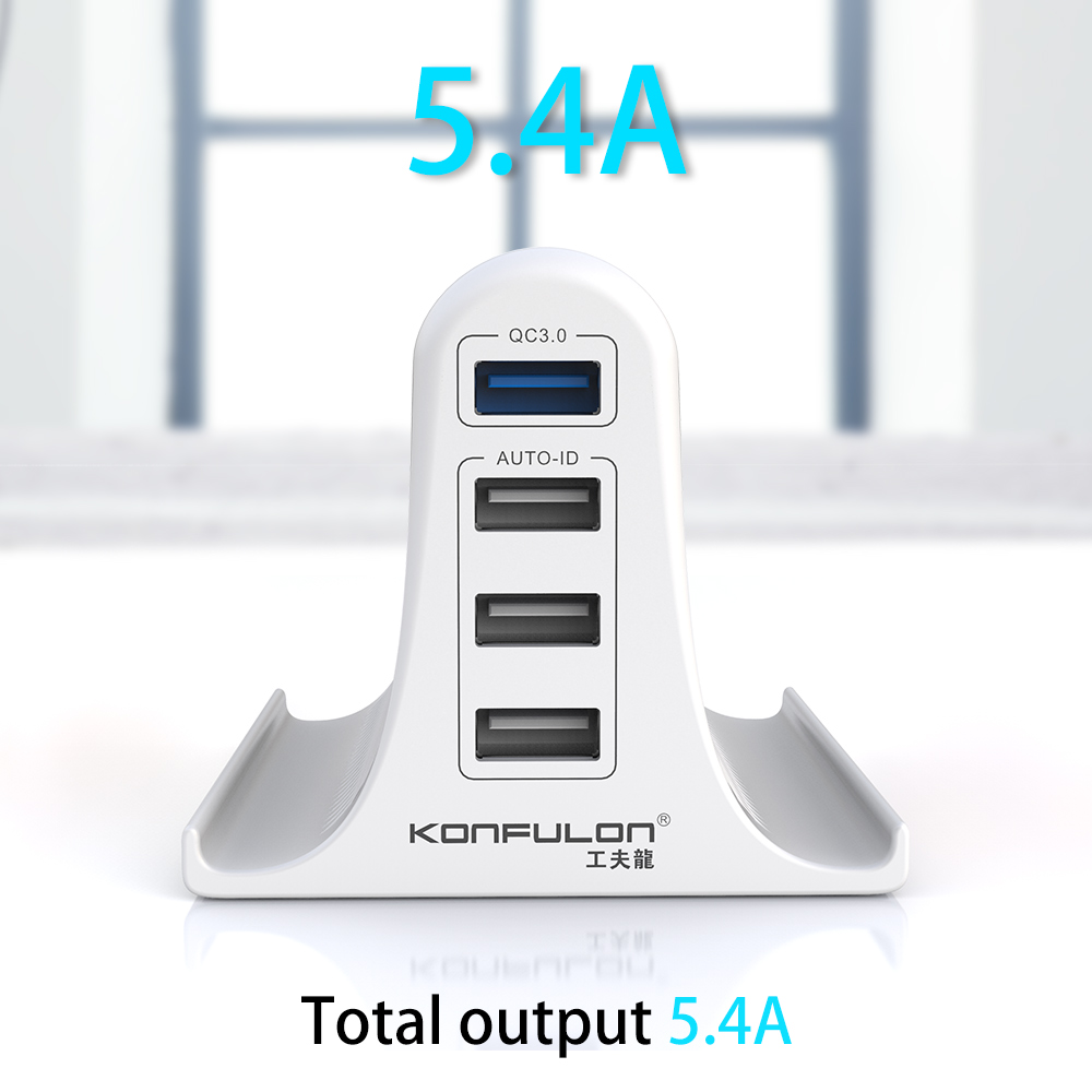 Konfulon Multi-Port USB Charger, Quick 3.0 Wall Charger Adapter with EU/US/UK Pin, CE Certified Phon