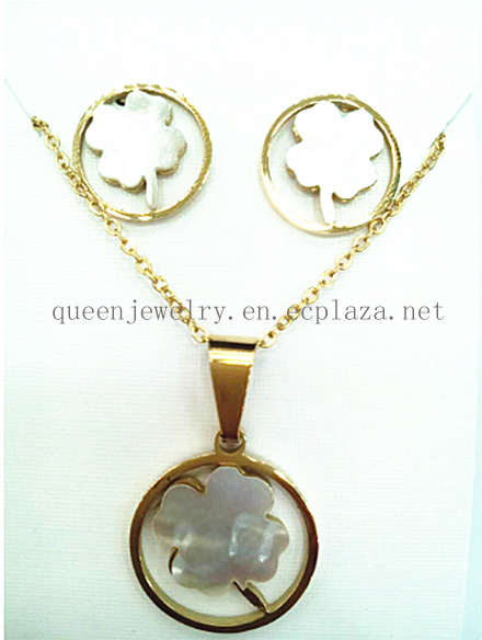 Paparazzi jewelry Fashionable round hollow stainless steel gold color with shells Clover pendant