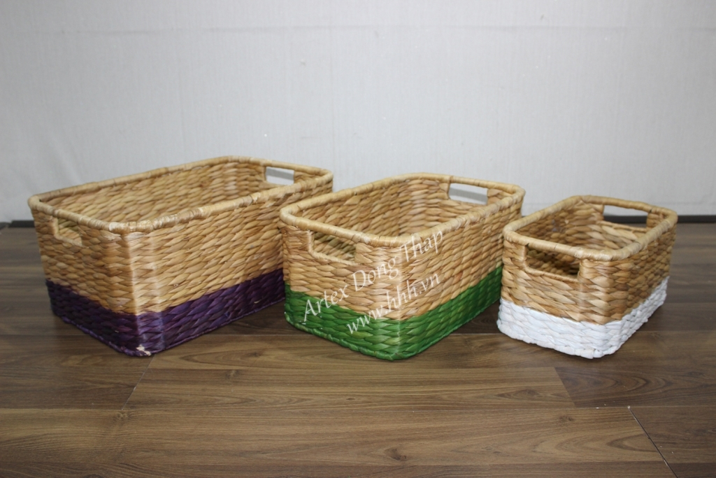 Water hyacinth storage basket for home decor and furniture - SD3056A-3MC