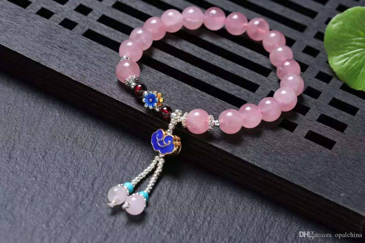 NEFFLY Natural Pink 925 Sterling Silver 8mm Indian Asian Style Beaded Strands Bracelets Madagascar G