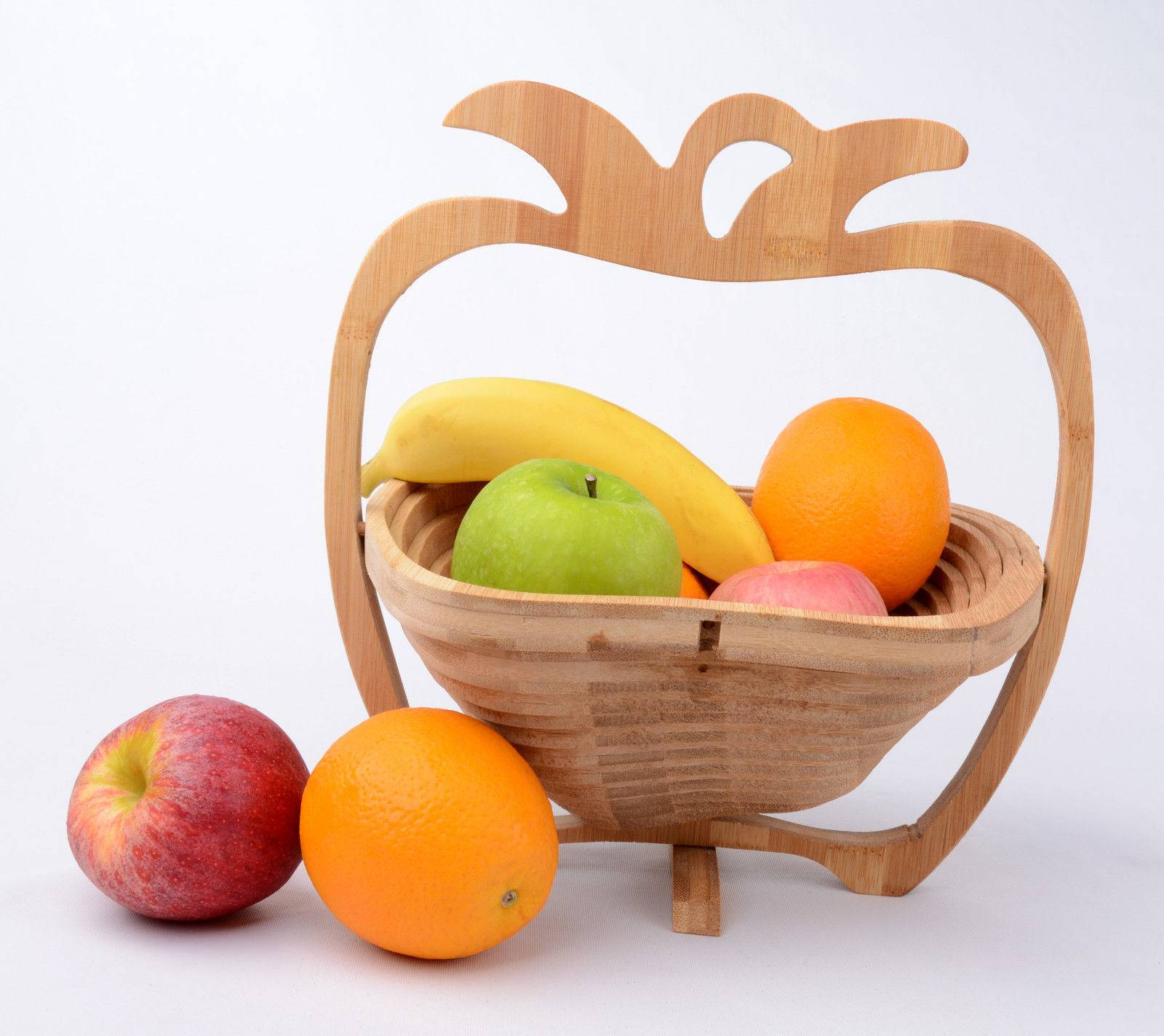 Apple Shaped Bamboo Wooden Collapsible Fruit Egg Basket