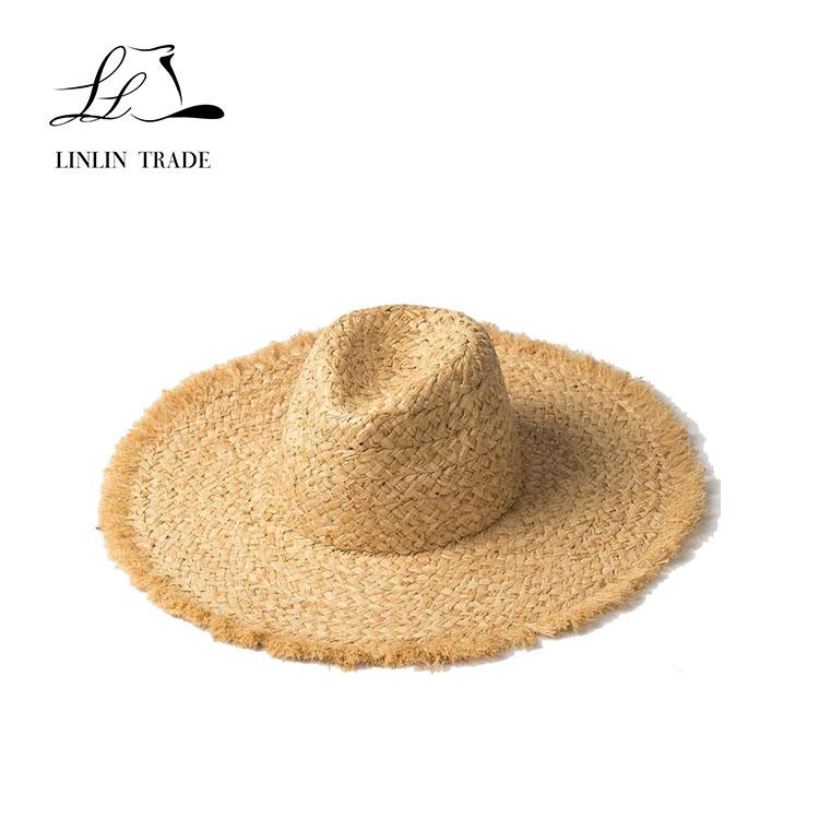 Wholesale natural panama style large wide birm summer raffia straw hats