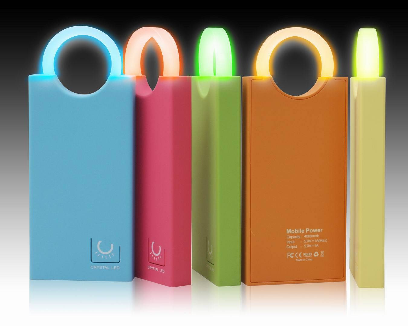 4000mAh power bank with crystal light