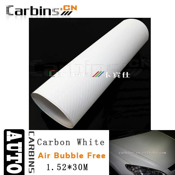 1.52*30m White 3D Carbon Fiber Vinyl Sticker Adhesive Cars/3D Carbon Fiber Car Vinyl Wrap Film Air B