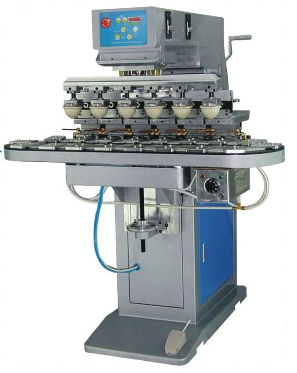 Six Color Ink Cup Pad Printer with Conveyor