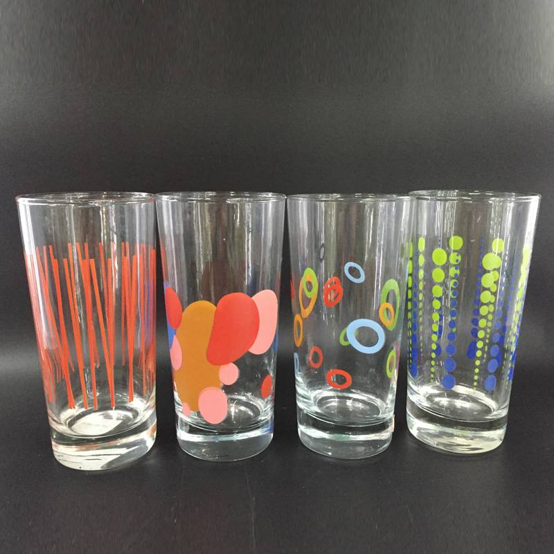 High quality waterware Glass cup with flower glass tumbler wine glass
