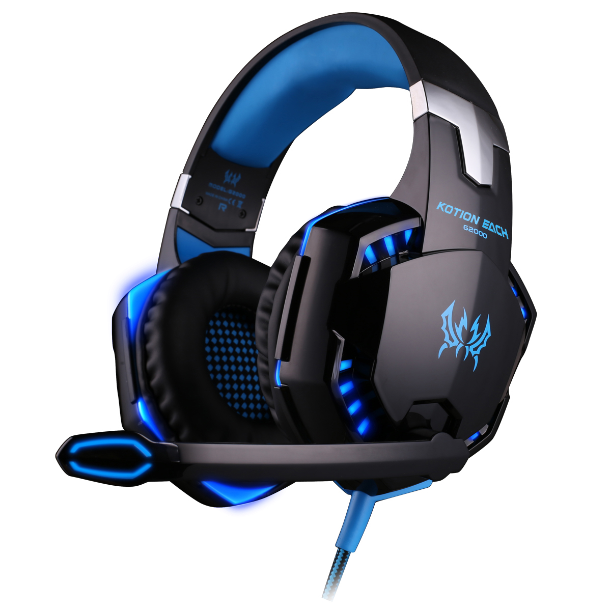 KOTION EACH G2000 Over-ear Game Gaming Headphone Headset Earphone Headband with Mic Stereo Bass LED