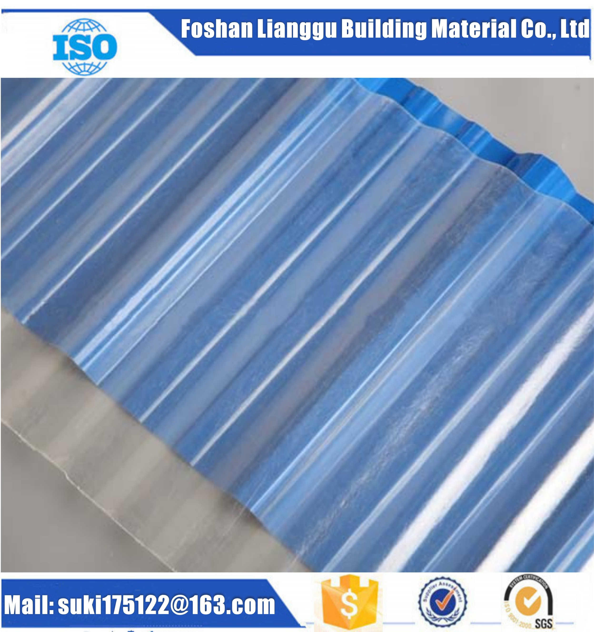1.0mm Thickness Fiberglass Reinforced Polyester (FRP) Corrugated Roofing Sheet, Corrugated Board, Fi
