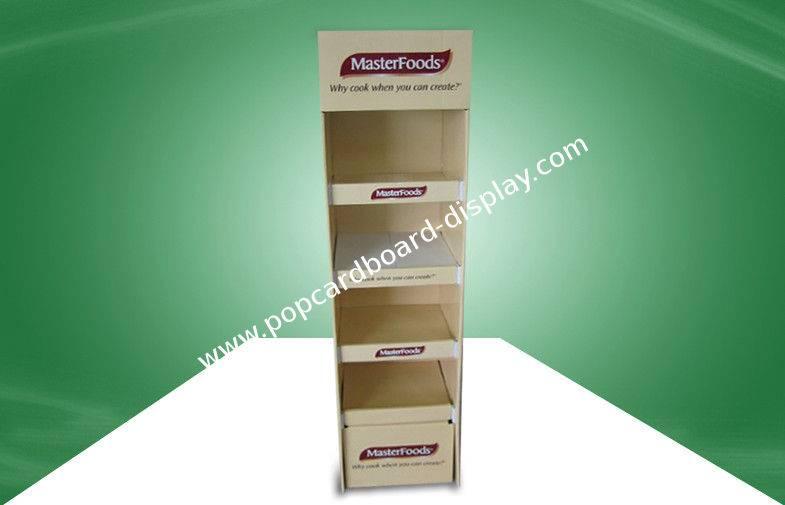Four Shelve Food POP Cardboard Display Cardboard Floor Standing Eco-friendly